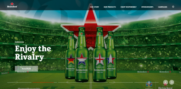 A screenshot of Heineken's homepage depicting their Enjoy the Rivalry campaign.